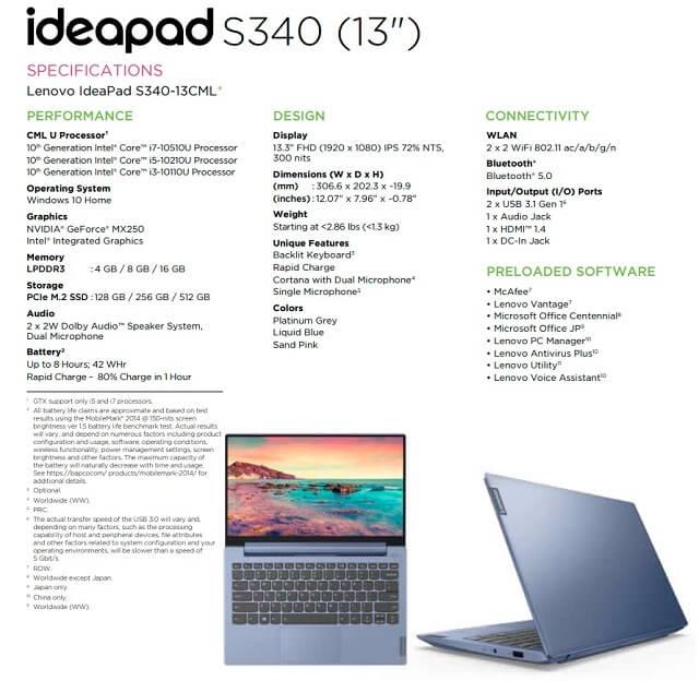ideapad s340 specs