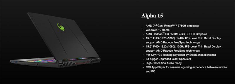 msi alpha 15 AMD Gaming Notebook p5