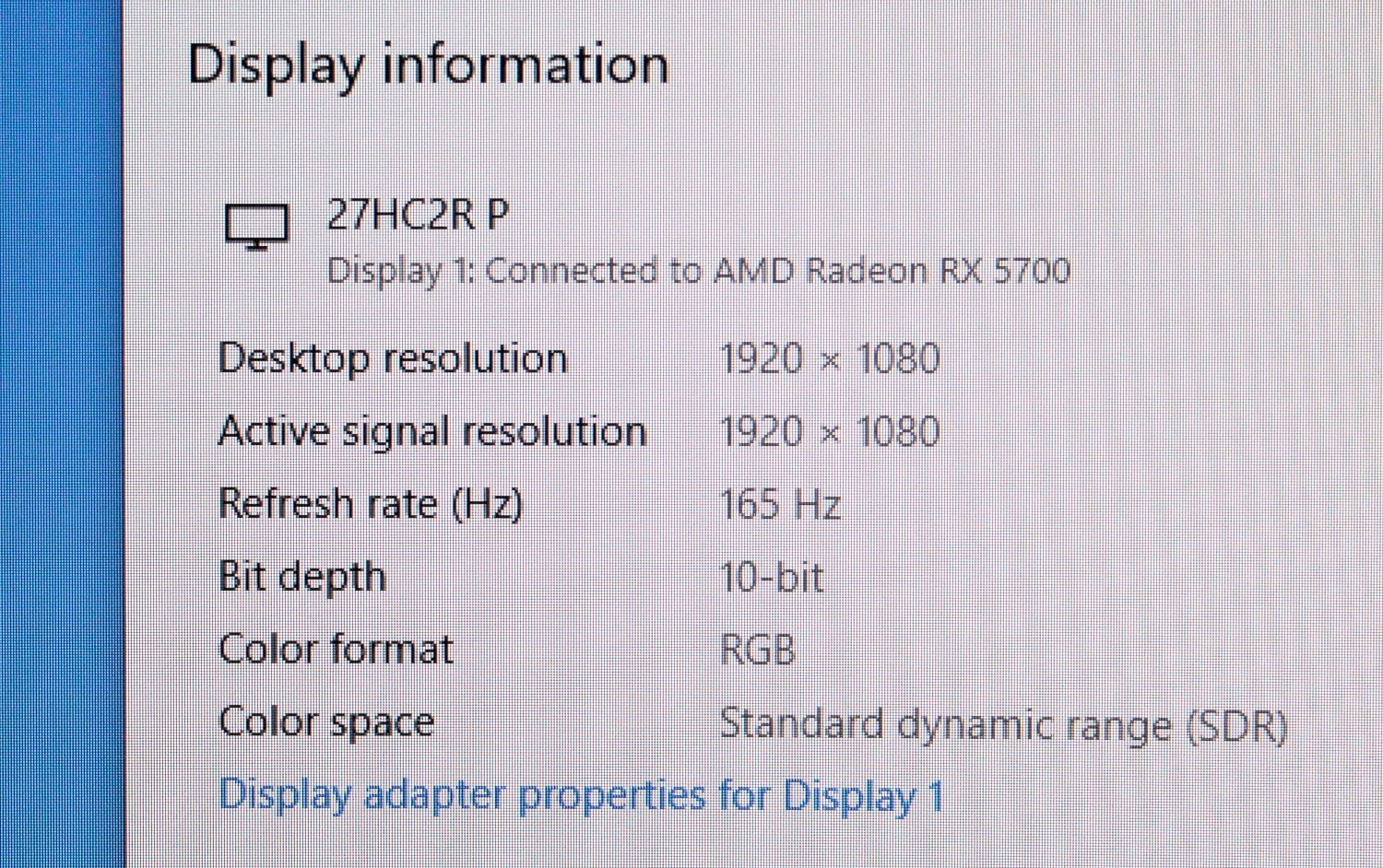 Aopen 27HC2R settings 1