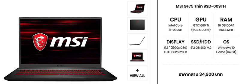 MSI GF75 Thin 9SD 009TH spec