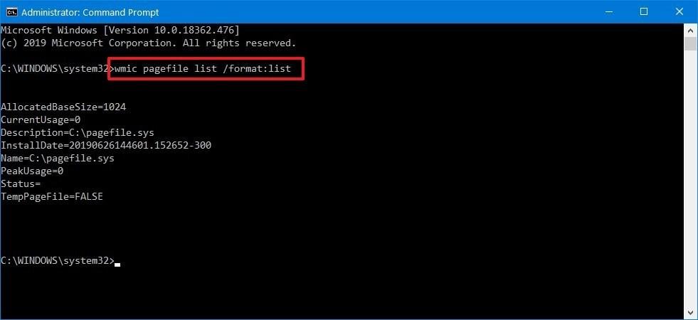 check virtual memory cmd windows 10