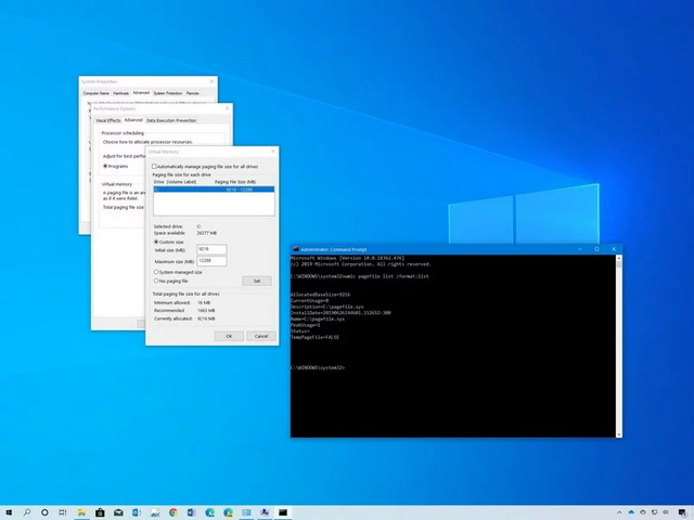 virtual memory increase windows 10