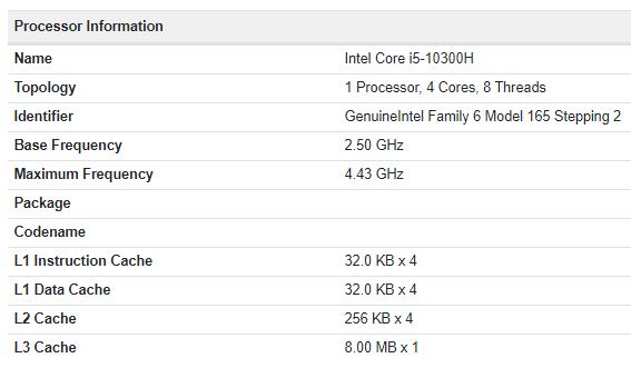 Intel Core i5 10300H Geekbench