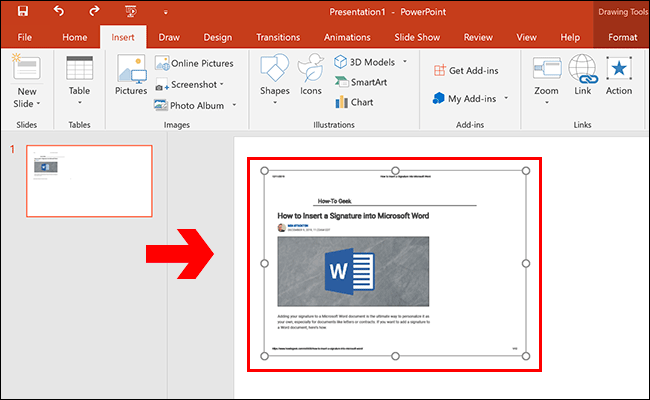 PowerPoint Inserted Object