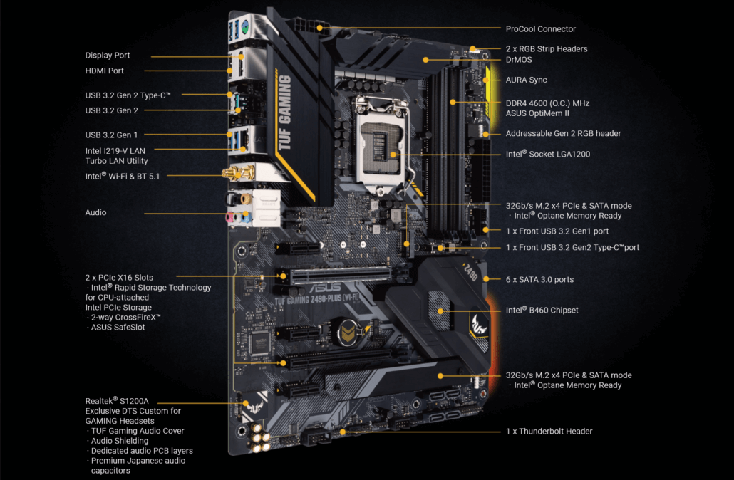 ASUS TUF Gaming Z490 PLUS WiFi LGA 1200 Motherboard Intel 10th Gen Desktop CPU 2