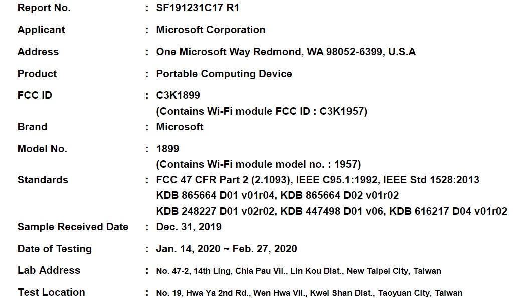 Surface Book 3 FCC