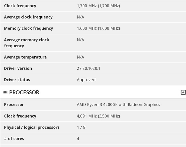 AMD Ryzen 3 4200GE spec leaked