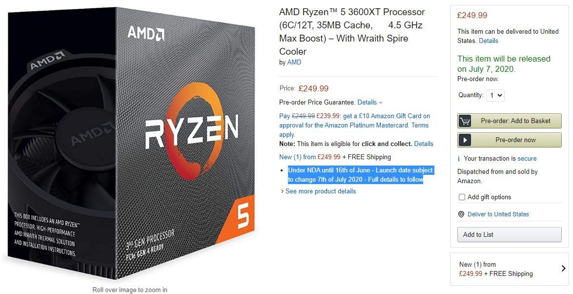 AMD Ryzen 3000XT Amazon 1