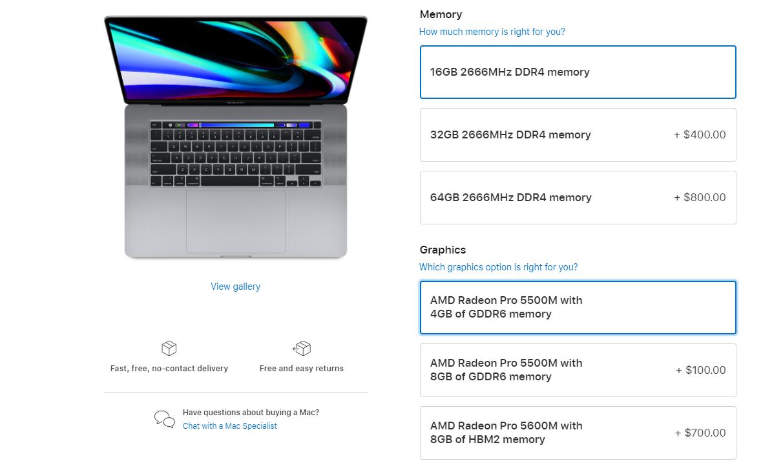 apple macbook pro radeon pro 5600m