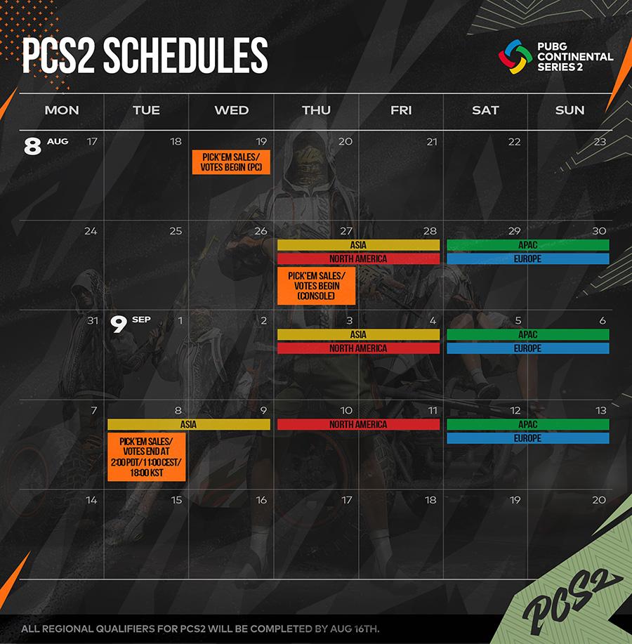 PCS2 Schedules