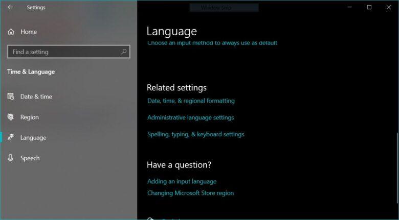 Language Windows 10 1