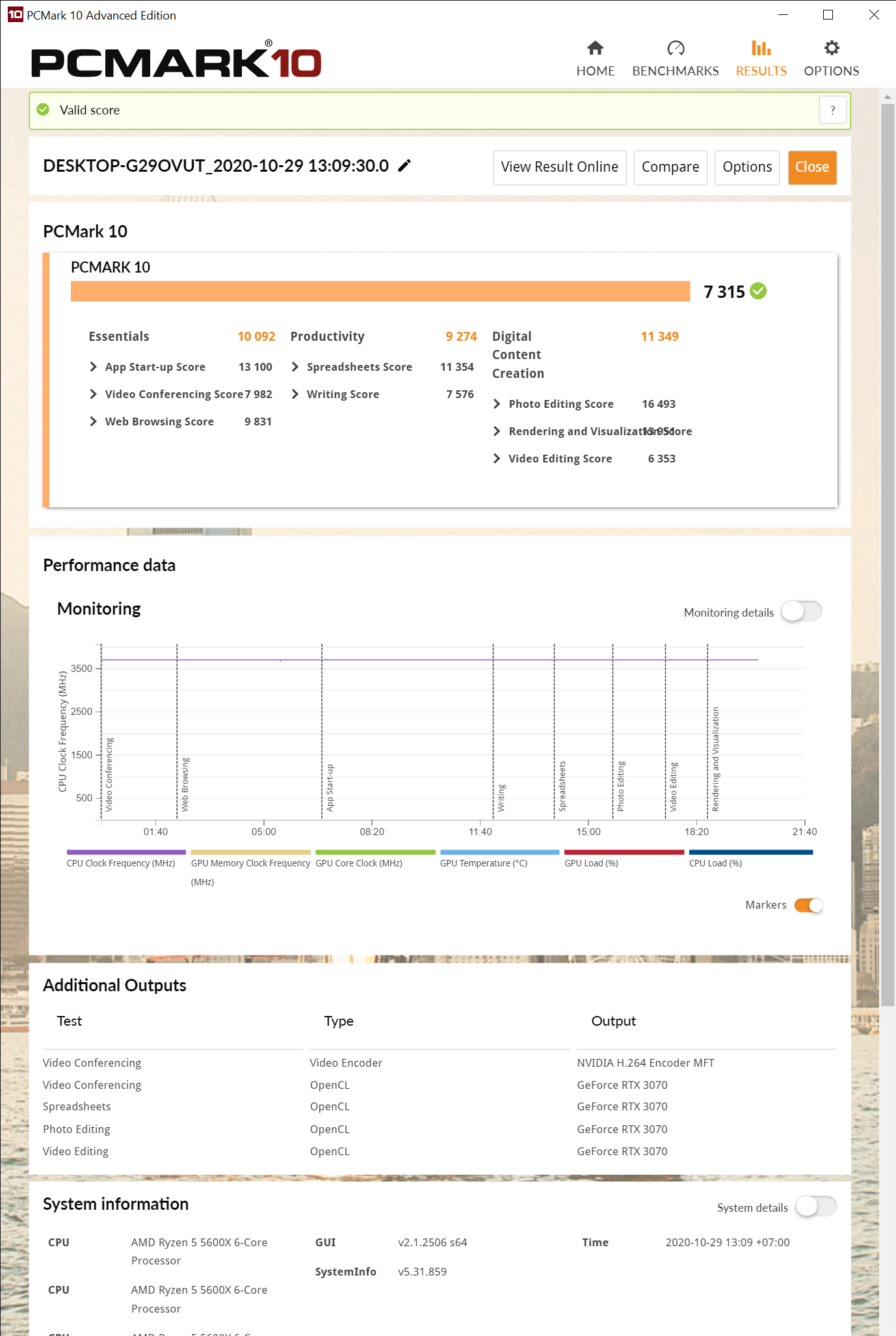 PCMark 10 Advanced Edition 10 29 2020 1 33 30 PM