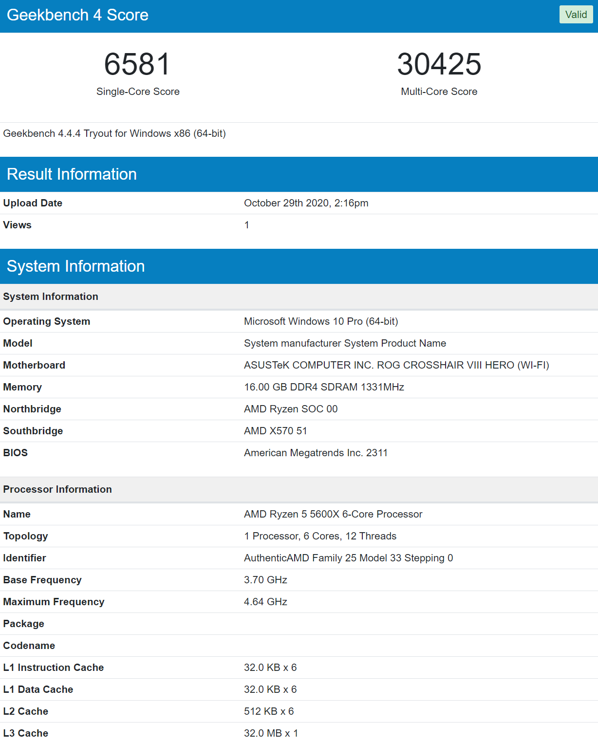 System manufacturer System Product Name Geekbench Browser and 4 more pages Profile 1 Microsoft Edge 10 29 2020 2 16 11 PM
