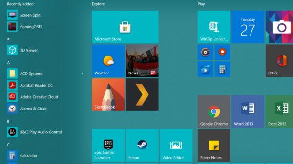 Windows 10 Start Menu fixed