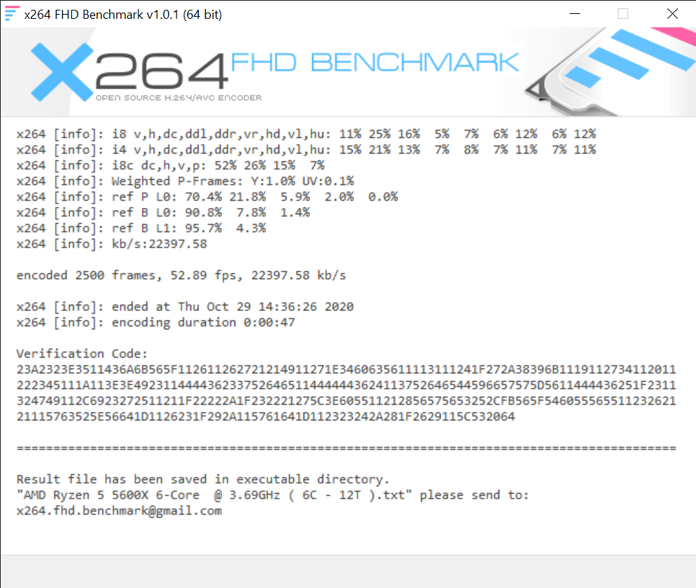 x264 FHD Benchmark 10 29 2020 2 41 23 PM