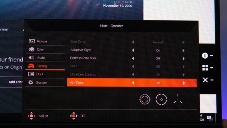 Acer Predator XB253Q OSD 12