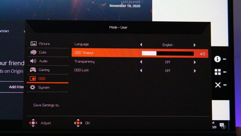 Acer Predator XB253Q OSD 15