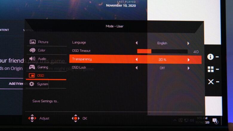 Acer Predator XB253Q OSD 16