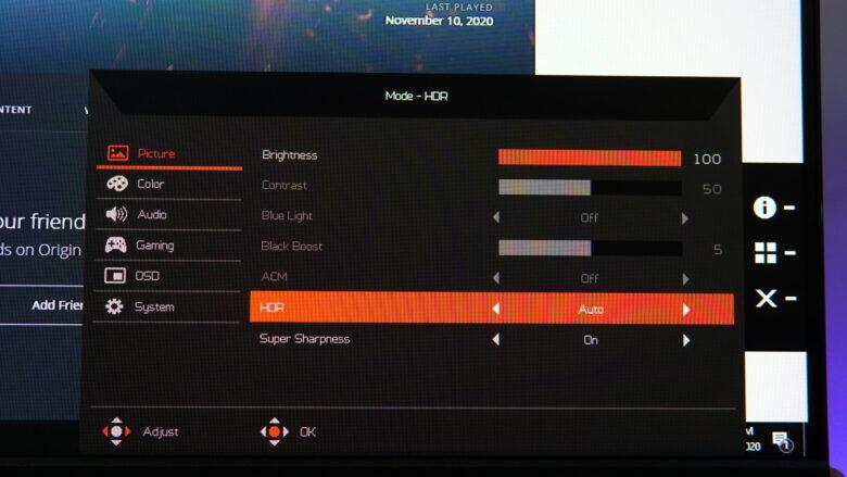 Acer Predator XB253Q OSD 2
