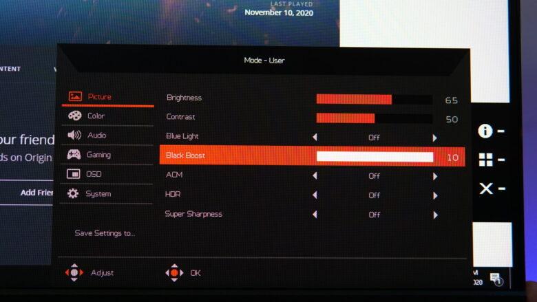 Acer Predator XB253Q OSD 21 1