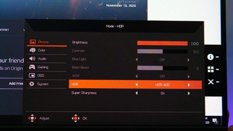 Acer Predator XB253Q OSD 3