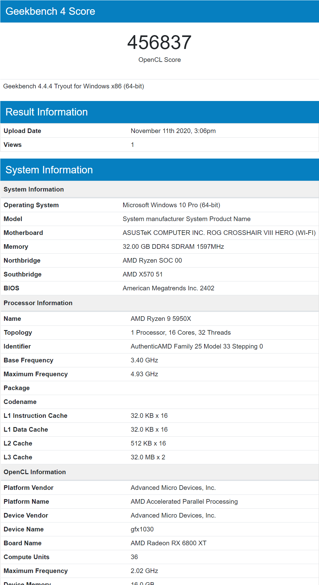 System manufacturer System Product Name Geekbench Browser Profile 1 Microsoft Edge 11 11 2020 3 06 19 PM