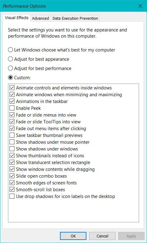 Visual Effect Windows