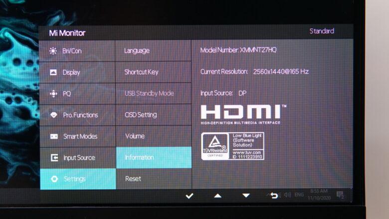 Xiaomi XMMNT27HQ OSD 20