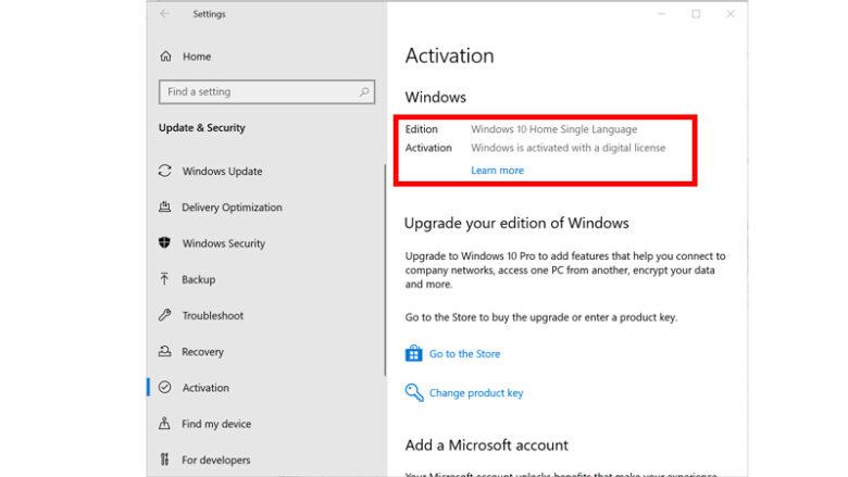 เช็ค windows 10 แท้ setting