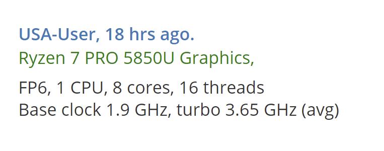 AMD Ryzen 7 PRO 5850U Processor