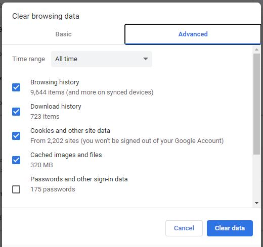 advance browsing data