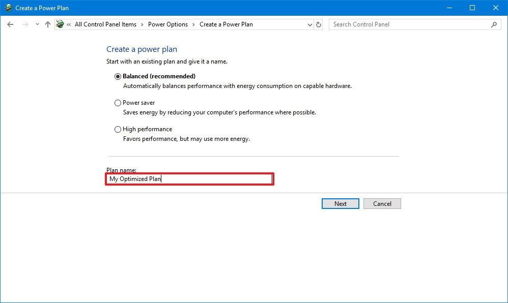 create power plan windows10 cp2