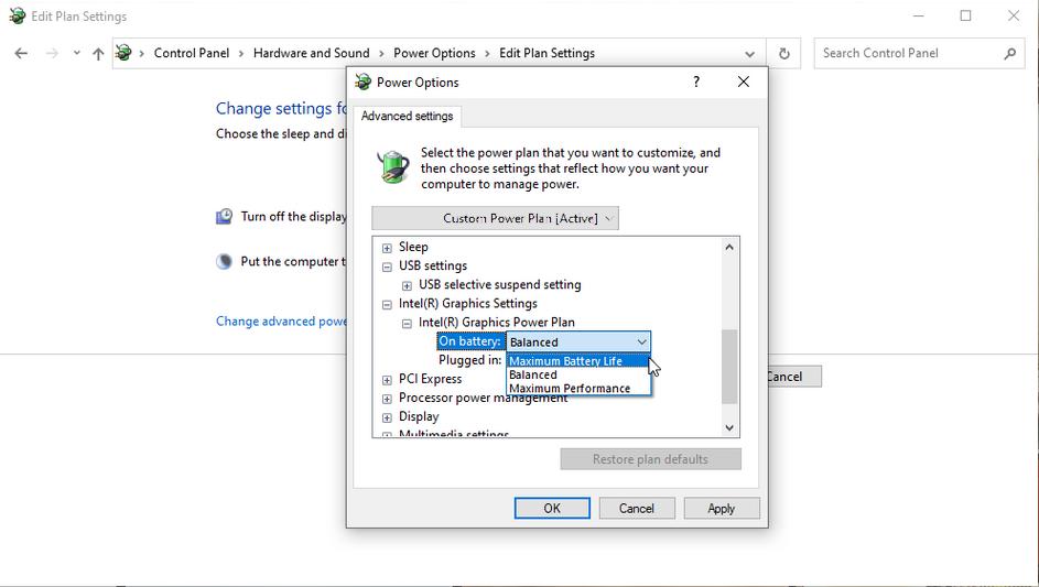 windows 10 maxium battery life intel graphics