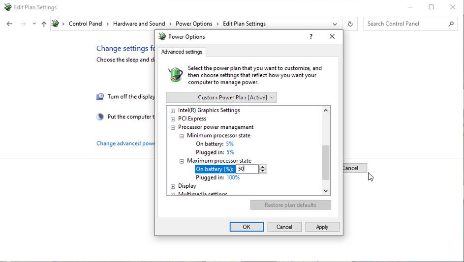 windows 10 processor power management power plan