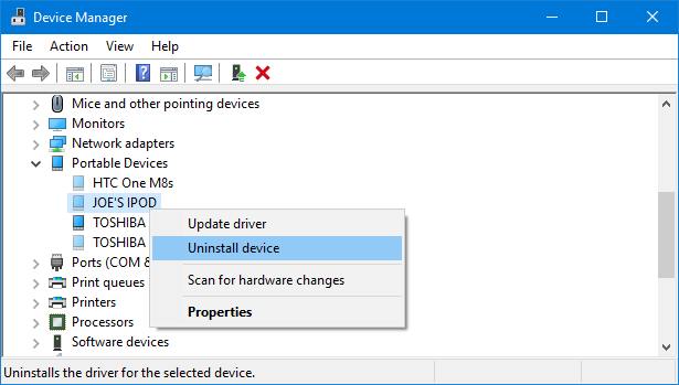 device manager uninstall