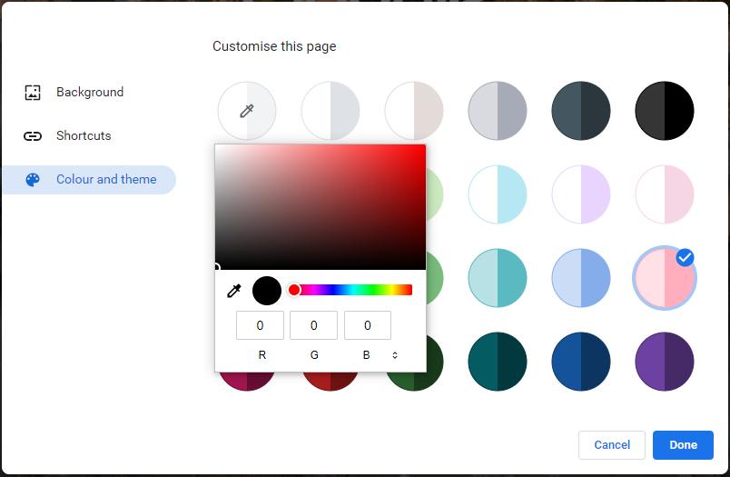 new tab custom color
