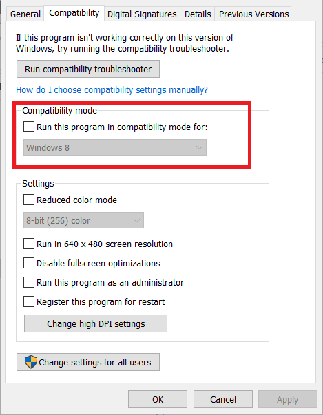 Install driver in compatibility mode