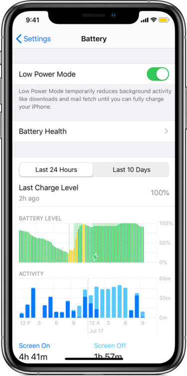 ios13 iphone xs settings battery low power mode on