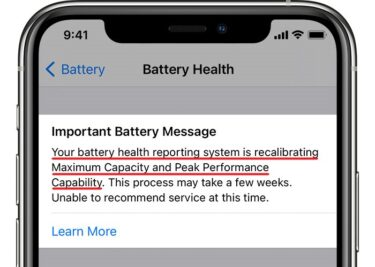 ios14 iphone11 pro settings battery battery health unable to recommend service crop