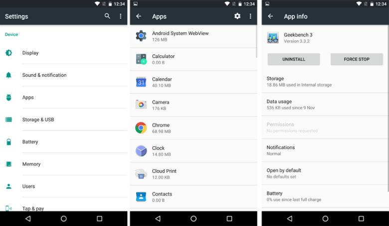 uninstall apps menu