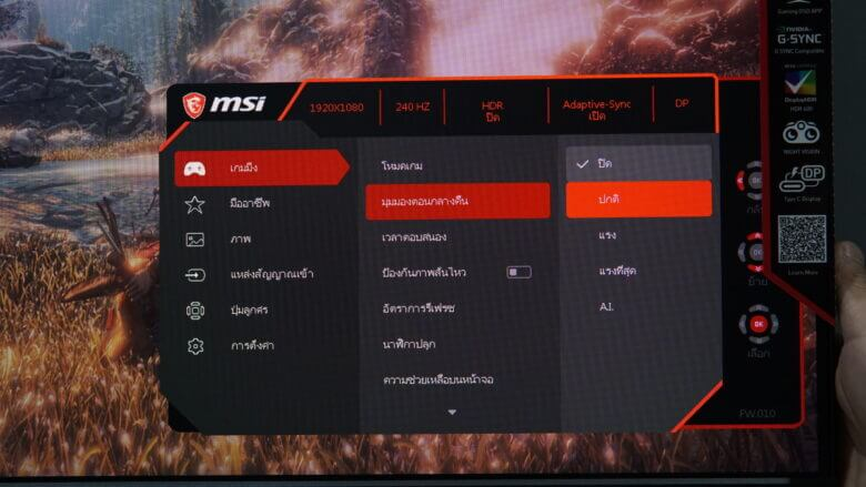 OSD MSI Optix MAG251RX 10
