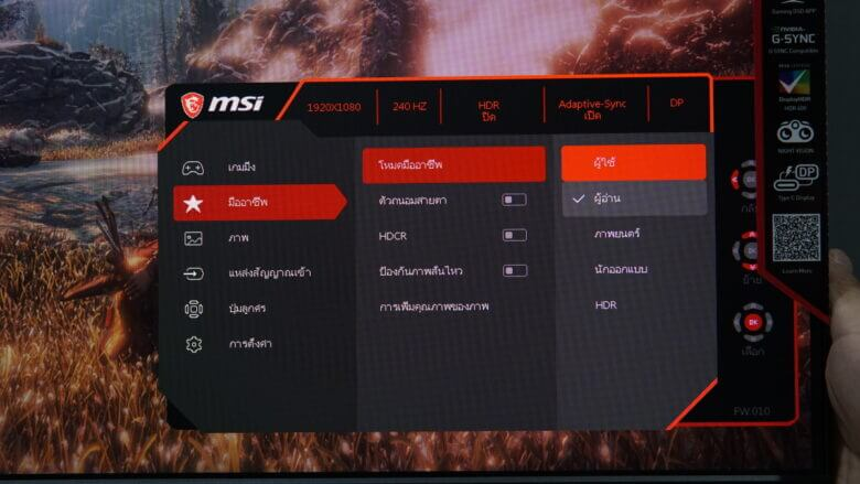 OSD MSI Optix MAG251RX 16