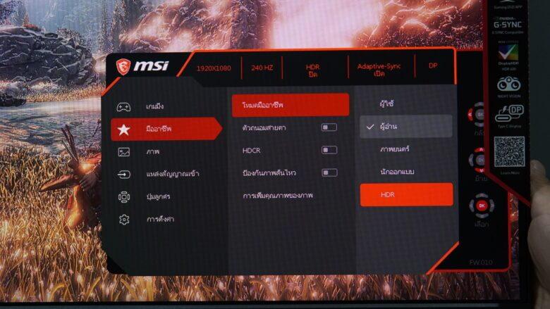 OSD MSI Optix MAG251RX 20