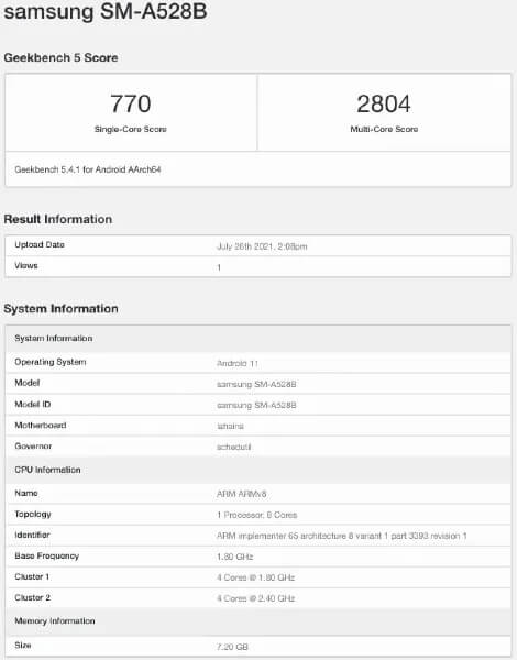Samsung Galaxy A52s first geekbench