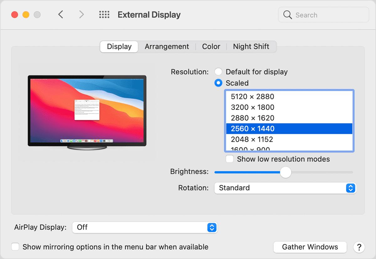 macos big sur system prefs displays external scaled resolutions